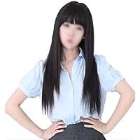 前髪 ぱっつん ロング ストレート フル ウィッグ コスプレ 黒髪 3点 セット