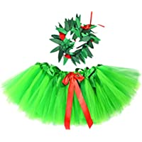 PRETYZOOM Layered Tulle Tutu Skirt Girls Bubble Skirt with Leaves Crown Headband Hawaiian Wreath Ballet Princess Dressing Up Kid Midi Skirt Costumes (Size S)