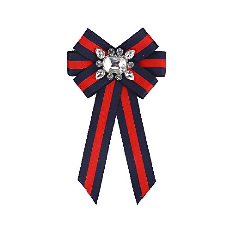 ファッション ネクタイ レディースネクタイ ファッションボータイ クリスタル ちょう結び 服の装飾 ストライプ 蝶ネクタイ ブローチ ファッション小物 (色 : 赤+青)