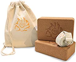 The Essential Yoga Duo, Two Cork Yoga Blocks, one Strap in Multi Purpose Bag from Natural Phases. Eco-Friendly Yoga...