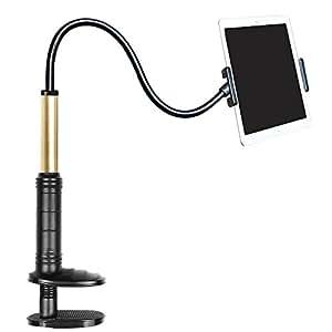 EasyULT 寝ながらタブレットスタンド根元強化 下垂防止 フレキシブルアーム360°角度調節 安定感 最大限22cm 挟める(4〜14インチ)Android/タブレット/Kindle/Nintendo Switchなど適用スマホ タブレットアームスタンド(ブラック)