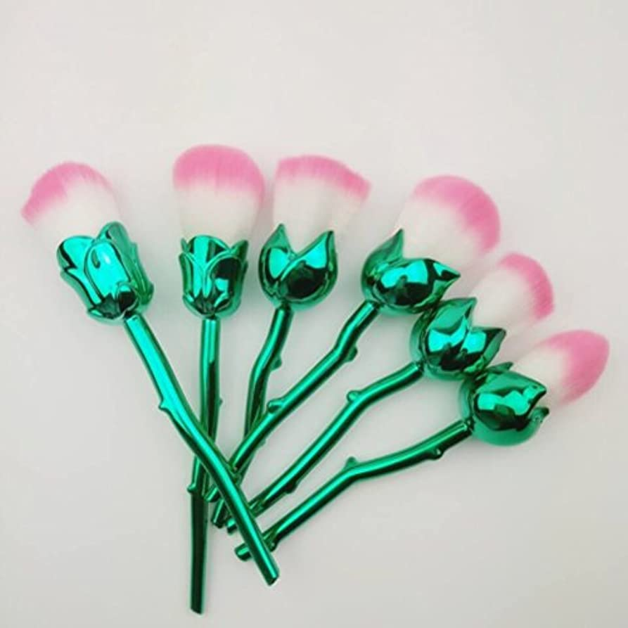 スコットランド人通り直面するディラビューティー(Dilla Beauty) メイクブラシ 薔薇 メイクブラシセット 人気 ファンデーションブラシ 化粧筆 可愛い 化粧ブラシ セット パウダーブラシ フェイスブラシ ローズ メイクブラシ 6本セット ケース付き (電気メッキ)