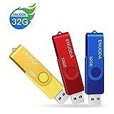 usbフラッシュメモリー 32gb usb 2.0 3個セット ENUODA スティックメモリー 360度回転式 usb キャップレス 多色(ブルー、イェロー、レッド)