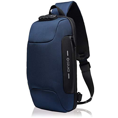 BLUE SINCERE ショルダーバッグ メンズ 大容量 ワンショルダー ボディバッグ usb 防犯 ダブルロック付き 軽量 撥水 BB2 (ネイビー)