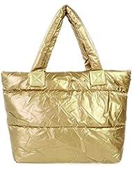 レディースバッグスペースバッグスポンジショルダーハンドバッグポータブルレディコットンパッド入りバッグ冬大容量トートバッグハンドバッグ-ゴールド