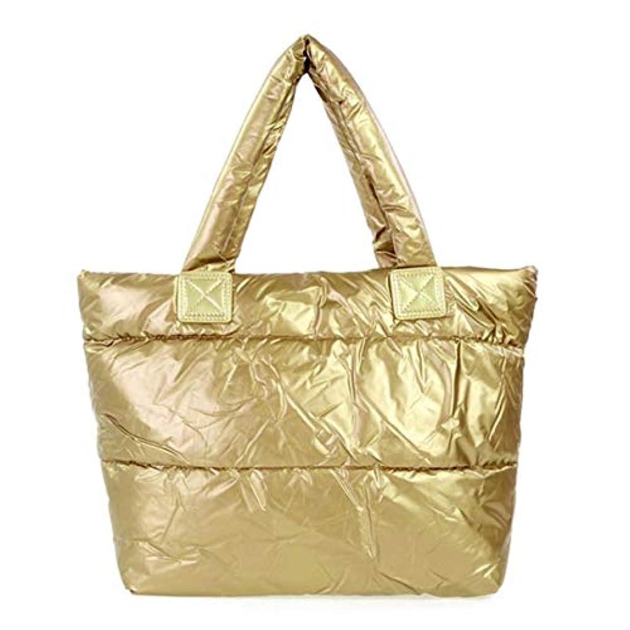 腹部しない粘土レディースバッグスペースバッグスポンジショルダーハンドバッグポータブルレディコットンパッド入りバッグ冬大容量トートバッグハンドバッグ-ゴールド
