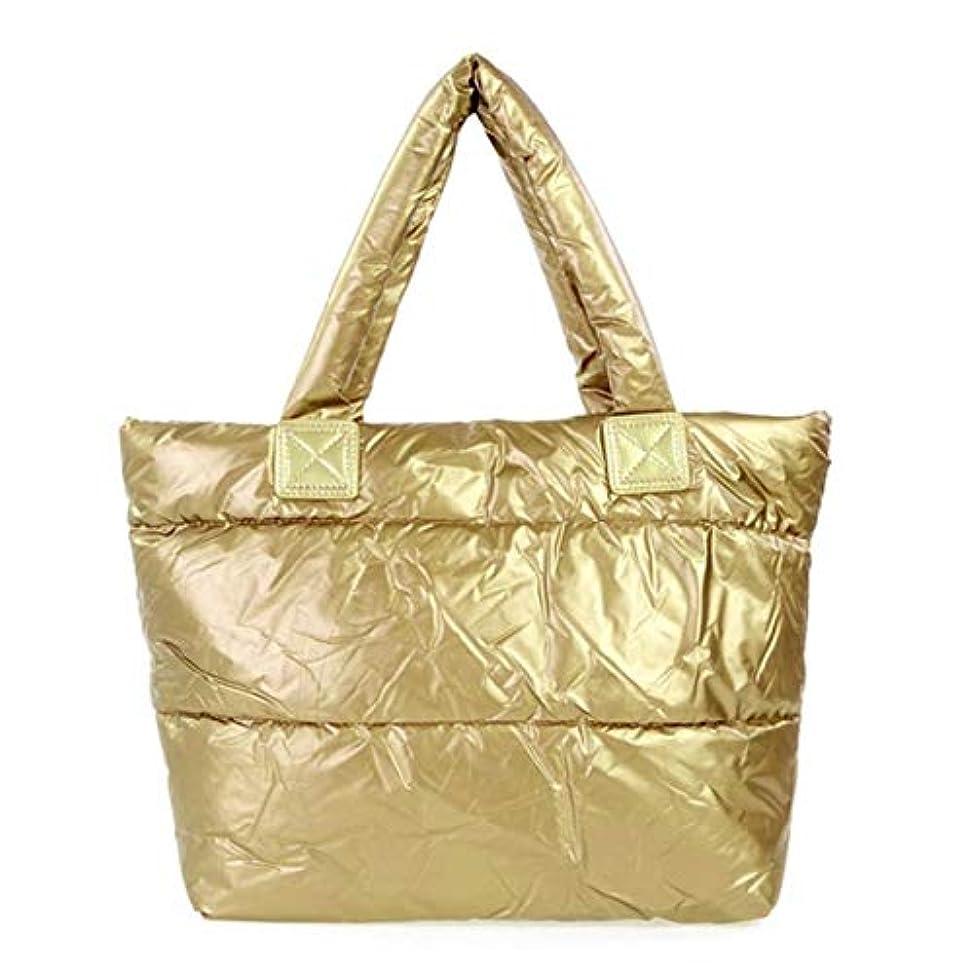 ディーラーぼかすコンデンサーレディースバッグスペースバッグスポンジショルダーハンドバッグポータブルレディコットンパッド入りバッグ冬大容量トートバッグハンドバッグ-ゴールド
