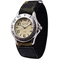 Wolfteeth Young Boys Silver Case Army Military Sport Wrist Watch Time Teacher, Nylon Velcro Strap 3061