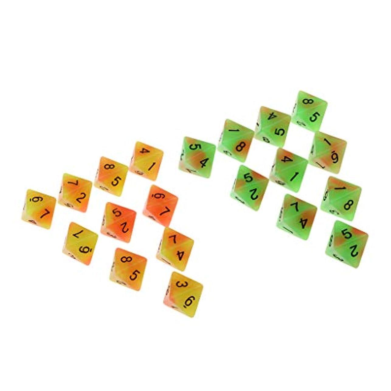 申請者承認ご覧くださいsharprepublic 多面体ダイス サイコロ ダブルカラー D8 楽しい ロールプレイングゲーム 小道具発光 20ピース