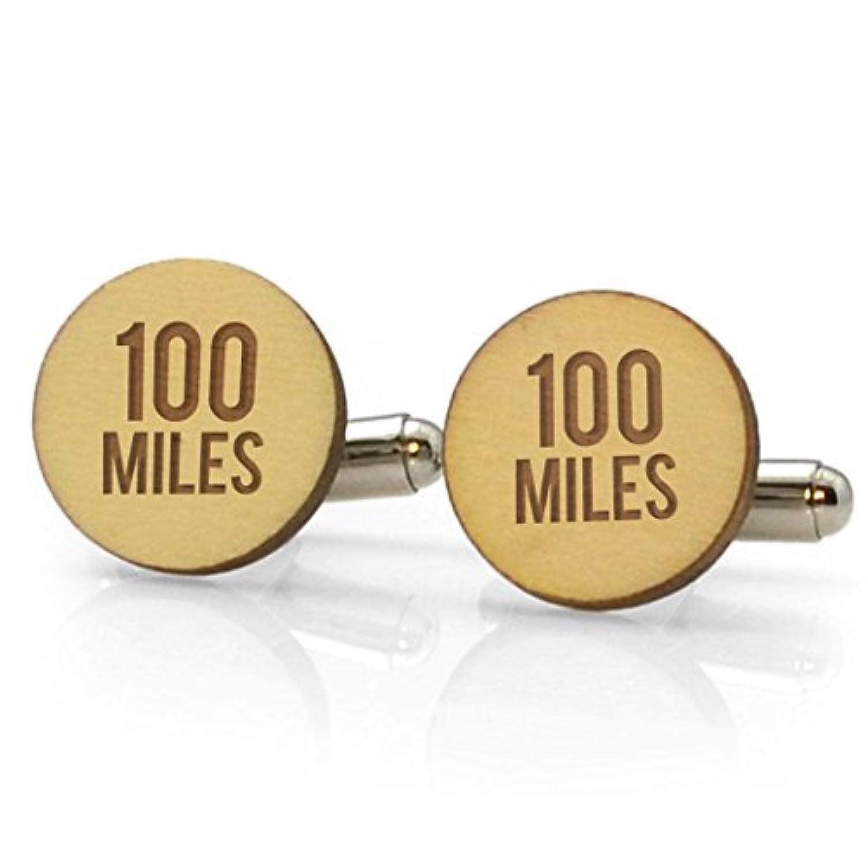 100マイルEngraved Wood Cufflinks | Running Cufflinks by Gone For A Run