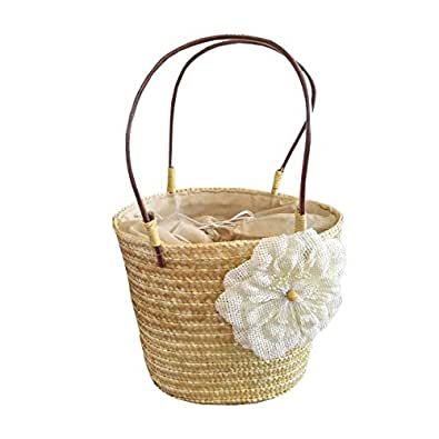 スマイルミント(smilemint) かごバッグ ナチュラル 白いお花の 麦わら かごバック