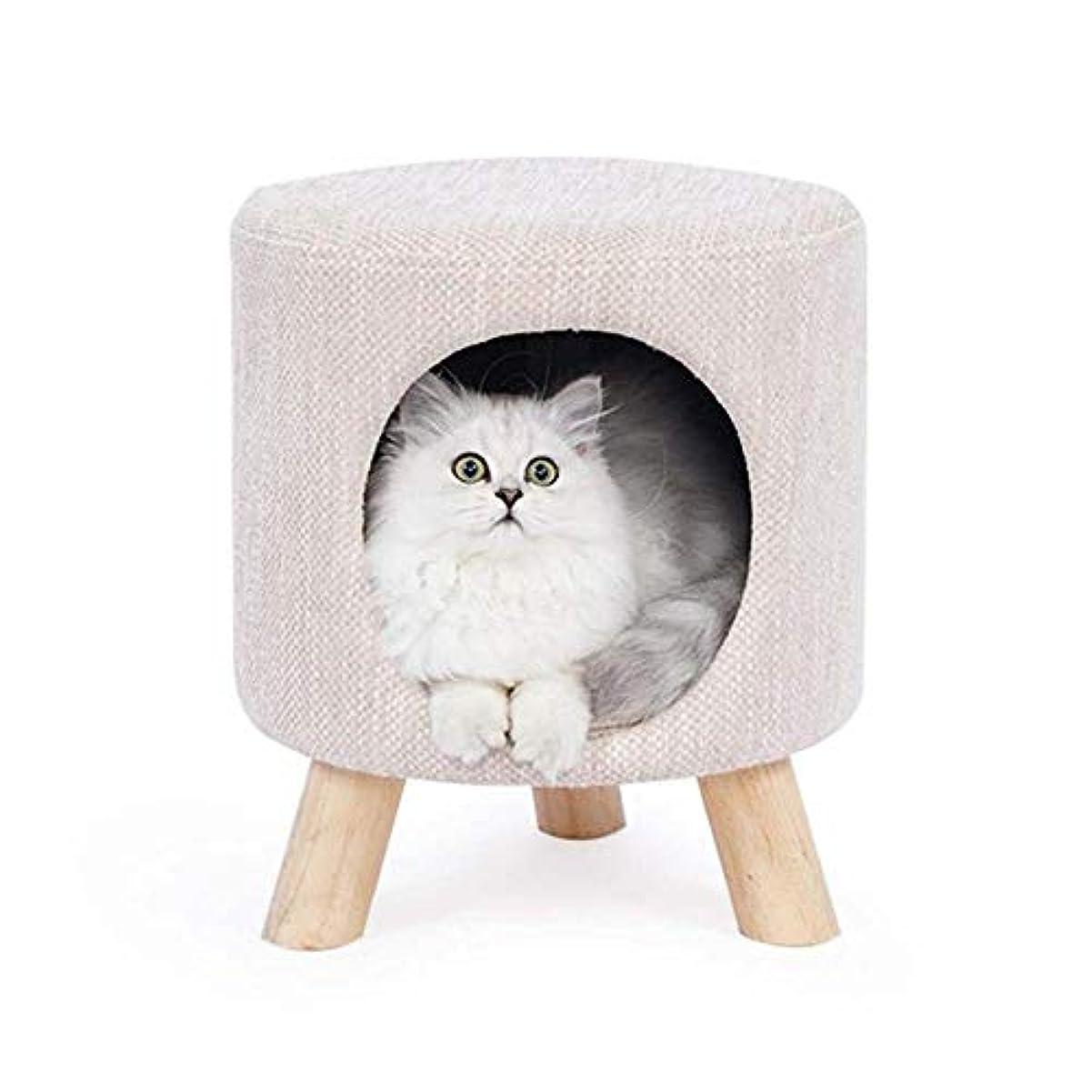 音声検索エンジン最適化凝縮するペットハウス 猫の家 猫の家のベッドスツールの巣多機能猫のテントの家の隠れ家の犬のスツール犬小屋猫用品ペット巣ベージュ