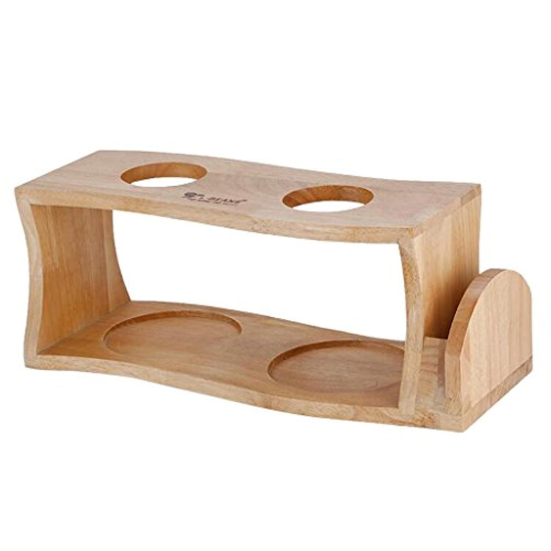 Perfk ドリッパー スタンド ホルダー コーヒー 高品質 木製 持ち運び 容易 2穴 清掃容易