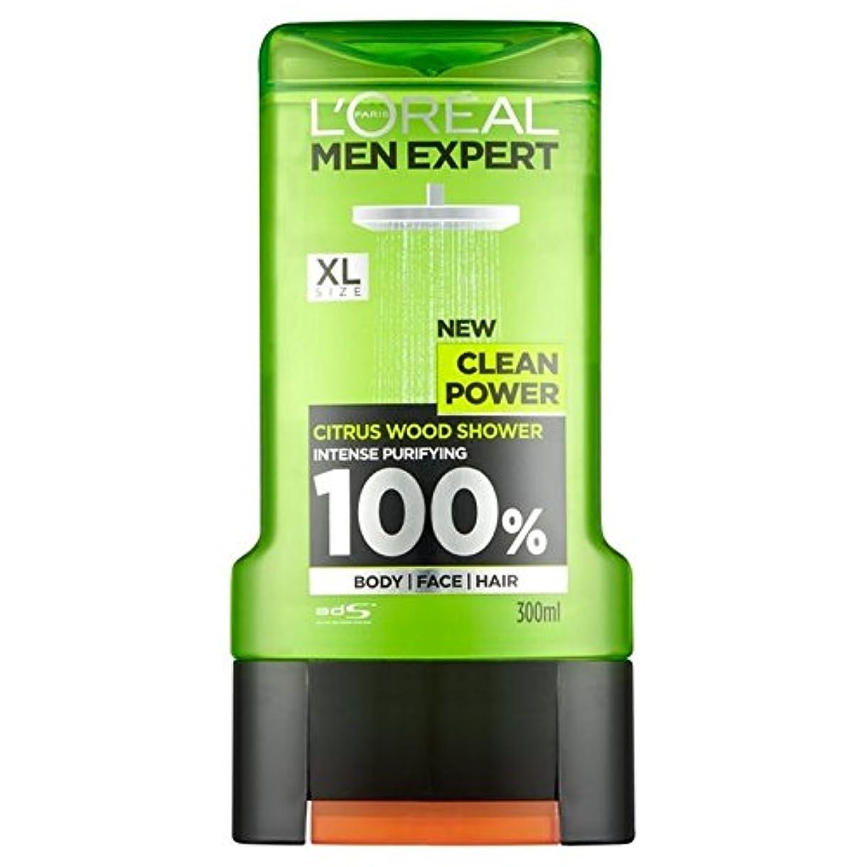 持参パワー驚ロレアルパリの男性の専門家クリーンパワーシャワージェル300ミリリットル x2 - L'Oreal Paris Men Expert Clean Power Shower Gel 300ml (Pack of 2) [並行輸入品]