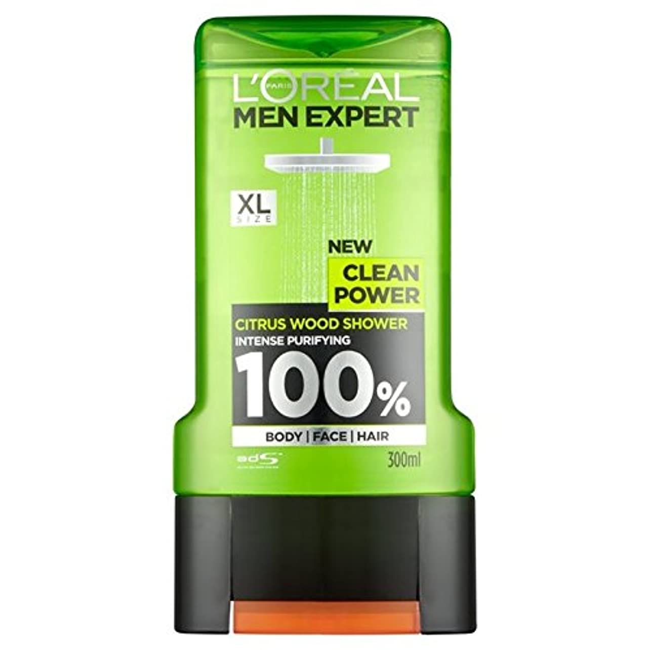 極めて広々チャペルロレアルパリの男性の専門家クリーンパワーシャワージェル300ミリリットル x4 - L'Oreal Paris Men Expert Clean Power Shower Gel 300ml (Pack of 4) [並行輸入品]