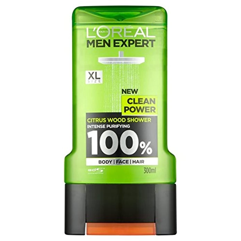 チョップ書き込み広いロレアルパリの男性の専門家クリーンパワーシャワージェル300ミリリットル x4 - L'Oreal Paris Men Expert Clean Power Shower Gel 300ml (Pack of 4) [並行輸入品]