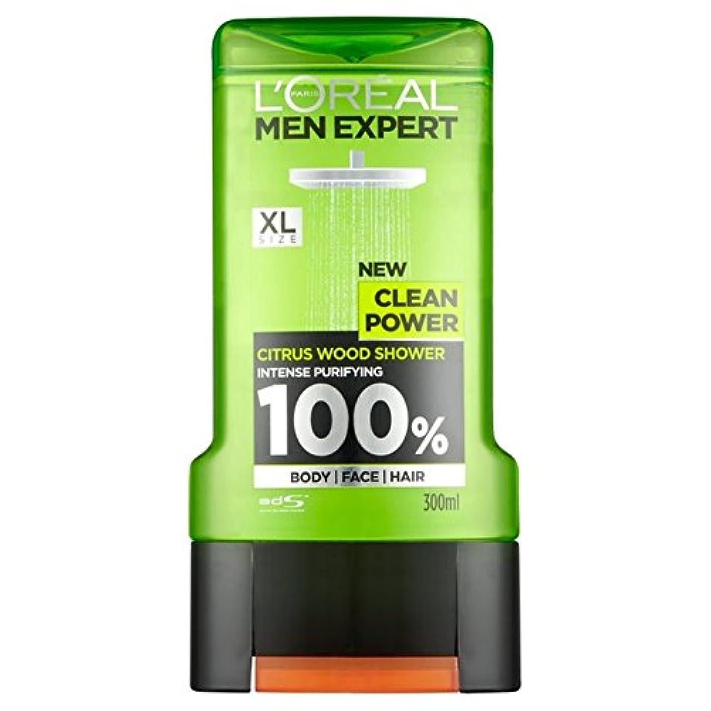 ジェームズダイソン排泄物夜明けロレアルパリの男性の専門家クリーンパワーシャワージェル300ミリリットル x4 - L'Oreal Paris Men Expert Clean Power Shower Gel 300ml (Pack of 4) [並行輸入品]