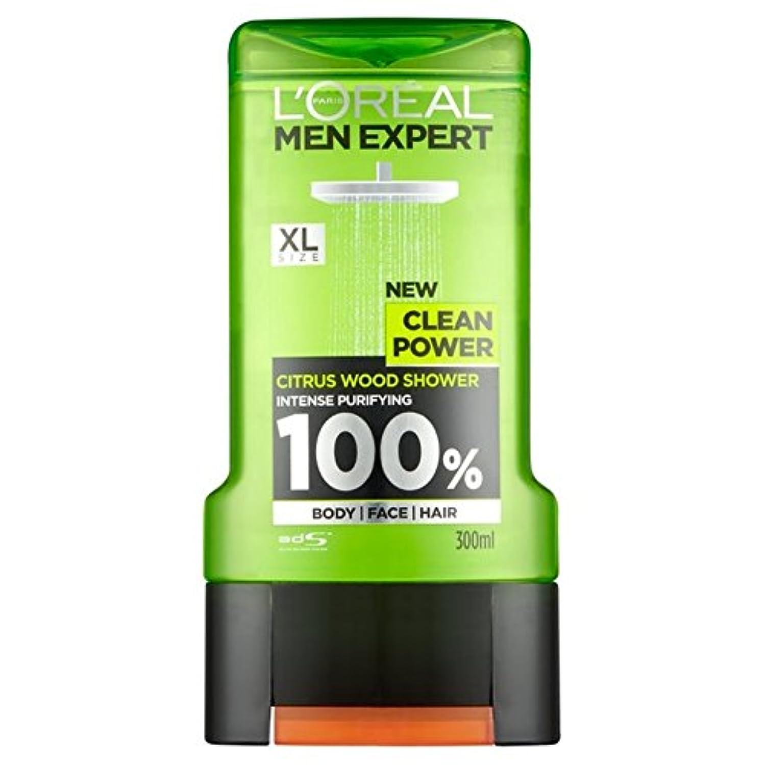 トラフむしゃむしゃ極小ロレアルパリの男性の専門家クリーンパワーシャワージェル300ミリリットル x2 - L'Oreal Paris Men Expert Clean Power Shower Gel 300ml (Pack of 2) [並行輸入品]