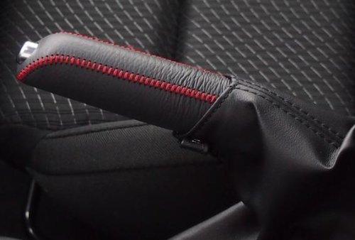 MAZDA マツダ CX-5 ハンドブレーキ カバー【 黒赤ステッチ】高級本革手作り