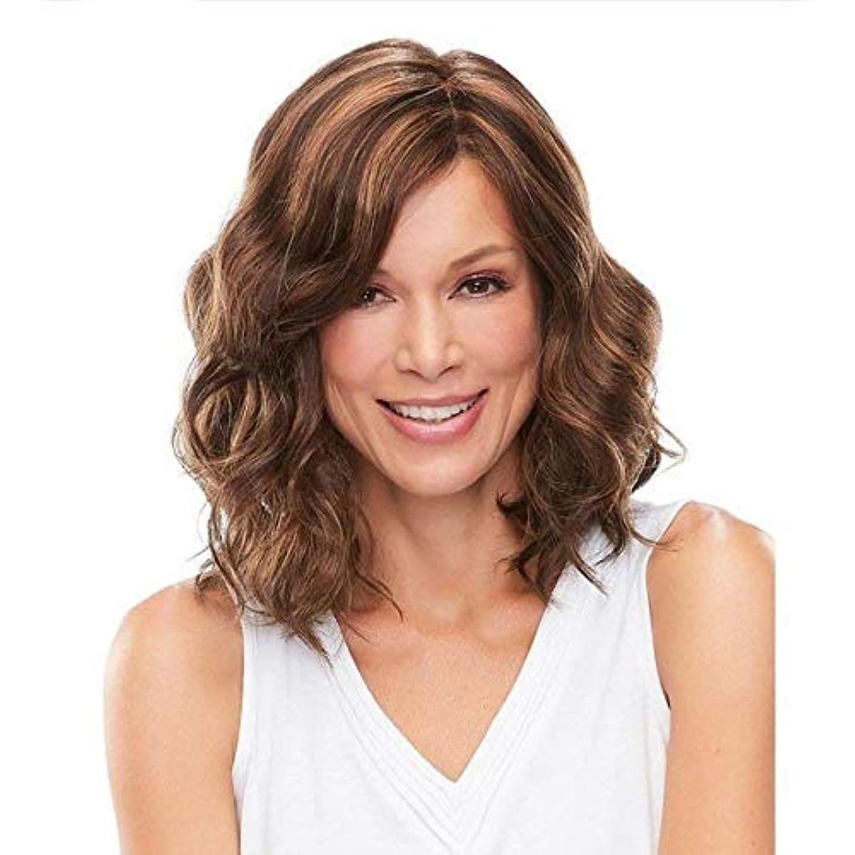 ケーブルカーパッドいつYOUQIU 女性の人工毛ダーク根ざしショートウィッグ自然なかつらのためにブロンド髪ショートボブウィッグ (色 : ブラウン)