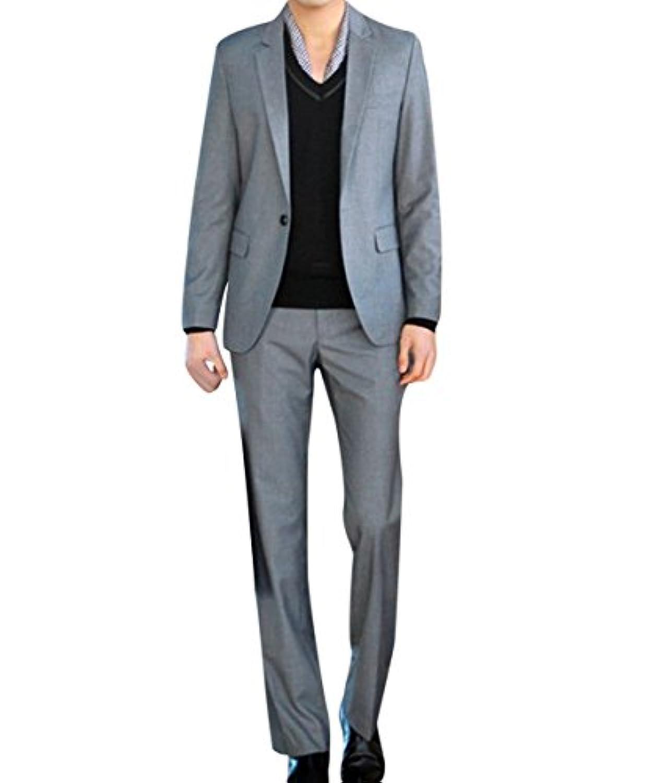 Victory Man(ビクトリー メンズ)スーツセット メンズ ビジネススーツ 1つボダン ジャケット 上下セットスーツ スリム 光沢あり立体裁断 高品質  ジェントルマン ポリエステル