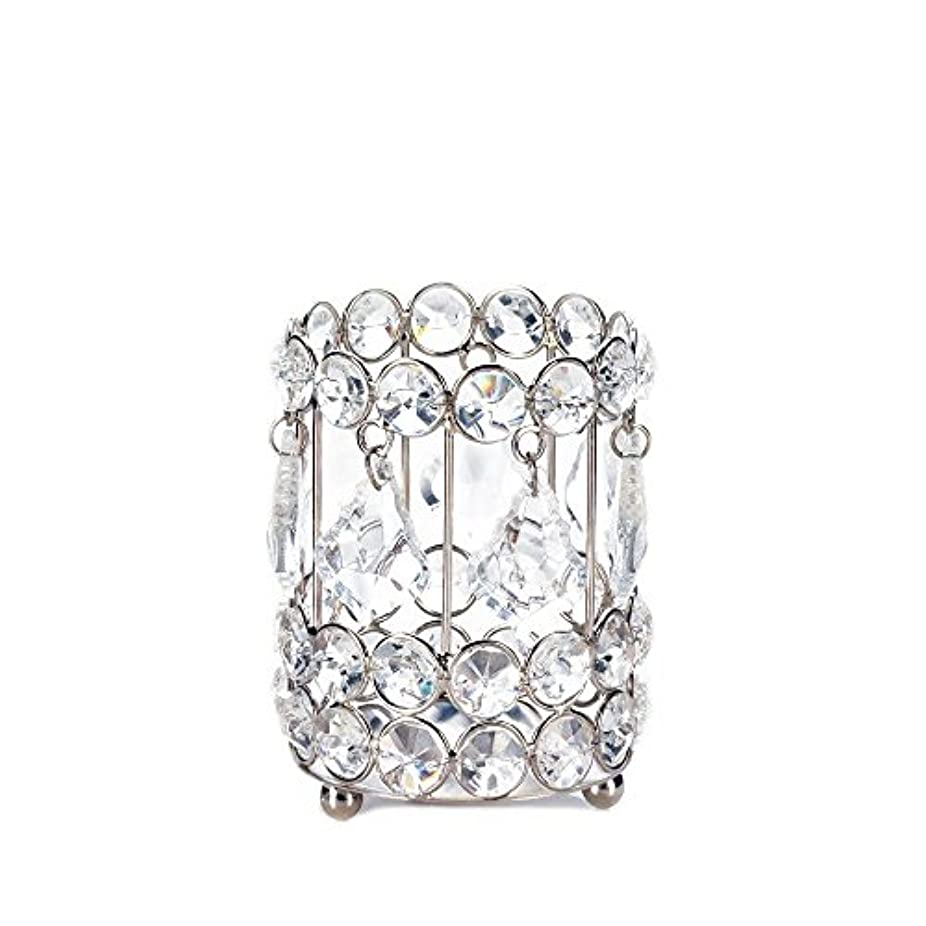 かごシャープ文庫本Gallery of Light 10018136 Super Bling Crystal Drops Candle Holder - 4 in.