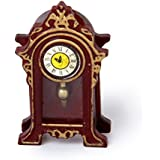 Perfeclan Doll House Antique Style Wood Table Mantel Clock Vintage Decor Pretend Play