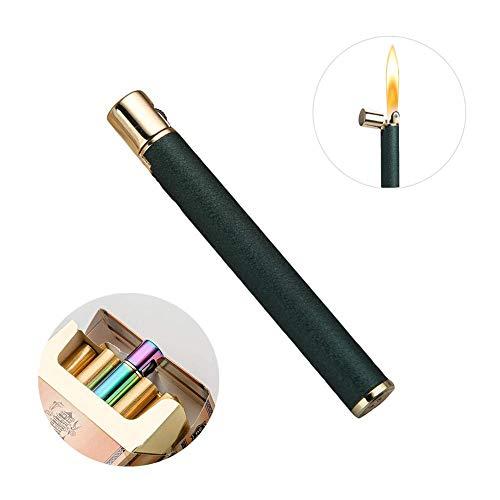 ガスライター VSTYLE ライター モダン スリムライター 細かい おしゃれ コンパクト 注入式 収納ボックス付き ガス付かない フリント交換可能 5色選択可能 (グリーン)
