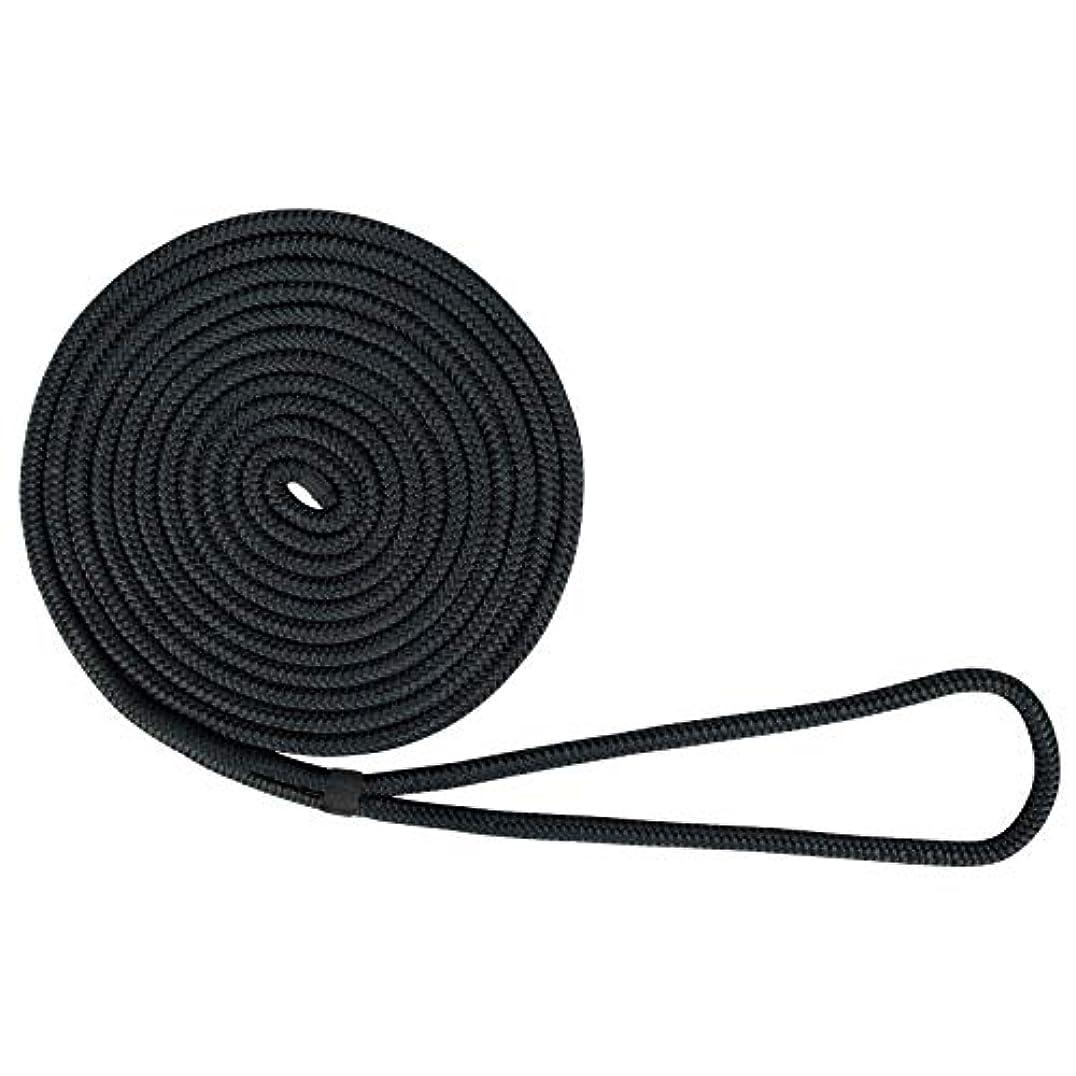 US Ropes ナイロンダブル編みドックライン 5/8インチ×25フィート ブラック