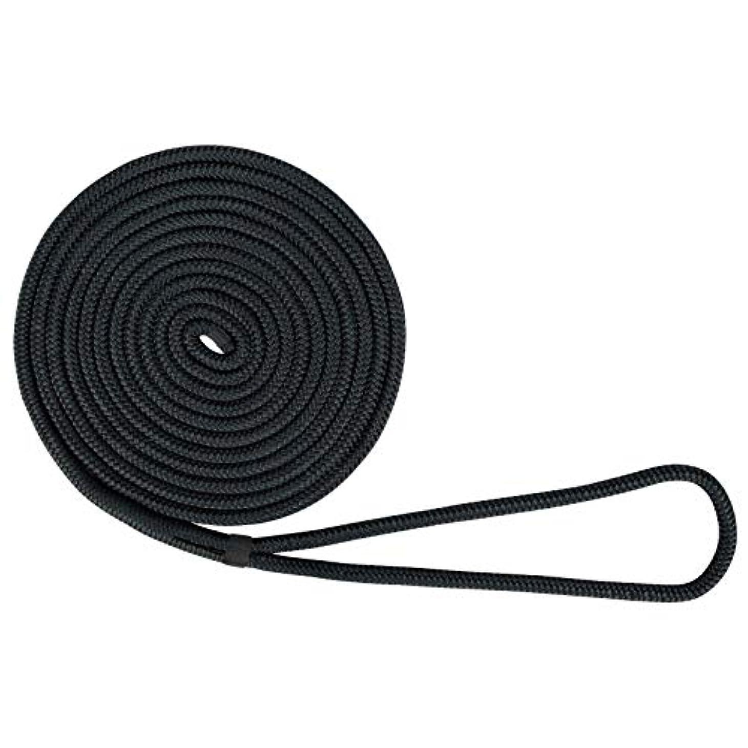 集中寛解委託US Ropes ナイロンダブル編みドックライン 3/8インチ x 25フィート ブラック