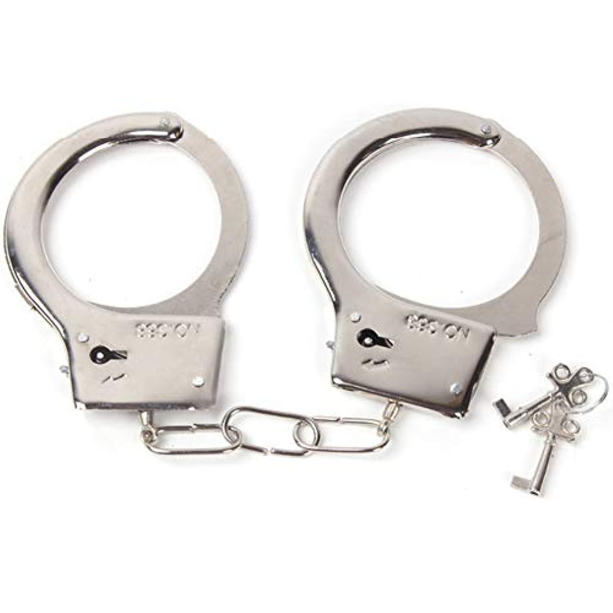 ハロウィン優先権失礼なワックスプルメタル手錠 鍵付き 警察官のいたずら遊びのためのパーティー記念品 子供用おもちゃメタル手錠 パーティー用品 コスチュームアクセサリー