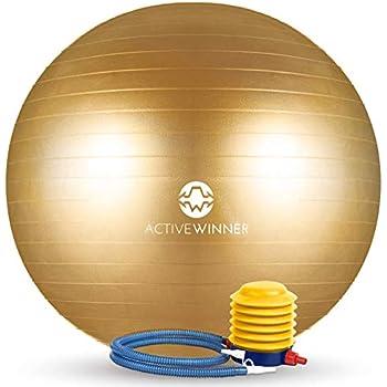 Active Winner バランスボール 55cm ゴールド アンチバースト 分厚い 滑り止め加工 フットポンプ付 ヨガ ピラティス 筋トレ ストレッチ オフィスチェア