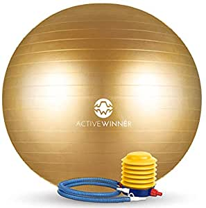 Active Winner バランスボール 65cm ゴールド ポンプ付き! ヨガボール ダイエット アンチバースト仕様