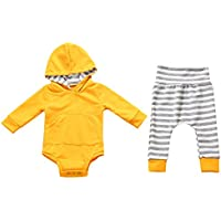 SONONIA 新生児 赤ちゃん 男の子 女の子 暖かい コットン素材 ストライプ パーカーTシャツ パンツ 服装セット   長袖 全4サイズ