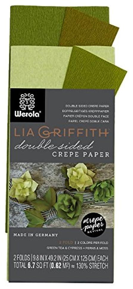 温室フリルロケーションLia Griffith Double Sided Crepe Paper Folds Roll, 0.6sqm, Green Tea and Cypress, Ferns and Moss (LG11023)