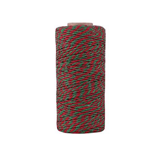 328フィートクリスマスHoliday Twine、ギフトWrapping Twine、コットンBaker 's Twine Arts Crafts Twine、レッドグリーンandホワイト文字列耐久性Packing Twine 100M 2D-418