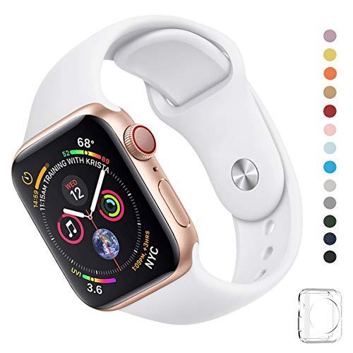 WFEAGL コンパチブル iWatch アップルウォッチ バンド アップルウォッチバンド スポーツバンド 交換ベルト 柔らかいシリコン素材 耐衝撃 防汗 apple watch series 4/3/2/1に対応 (42mm 44mm (M-L), 純白)