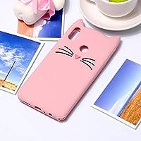 携帯電話用ソフトケース Xiaomi Redmi Note 6&Redmi Note 6 Pro用ラブリー3D口ひげ猫ソフトシリコンバックケース(ブラック) (色 : ピンク)