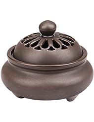 (Baoxinjp)香炉 陶器 マグネット 蓋付き 防火 お香用 透かし彫り 線香立て 缐香用 盤香用 落ち着く アロマ 金属 簡潔 レトロ風 高級感 耐久性 鉄色