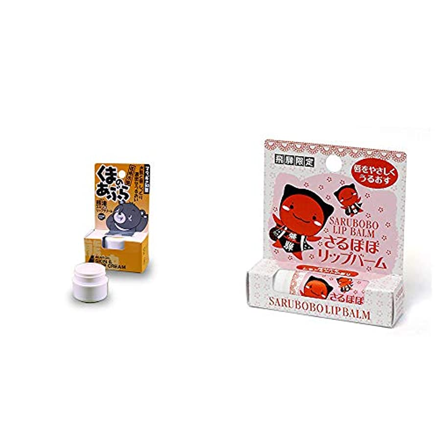 バーター便利ストローク[2点セット] 信州木曽 くまのあぶら 熊油スキン&リップクリーム(9g)?さるぼぼ リップバーム(4g)