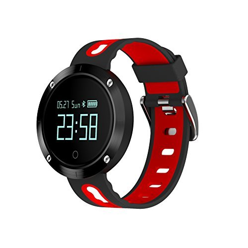 ZRSJ DM58 Heart Rate Blood Pressure Monitor Fitness Tracker Touch Screen Watch Waterproof Smart Band Sports Bracelet Pedometer Watch for Android and iOS (Black-Red) [並行輸入品]