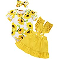 Kucnuzki Baby Girl Clothes Ruffled Outfits Short Sleeve Shirts Tops Suspender Floral Shorts 2pcs Girls Summer Clothes