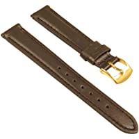 StrapsCo Classic Women's Leather Watch Band - Quick Release Strap - 14mm - Brown (Yellow Gold Buckle)