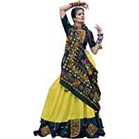 Exotic India Celery and Black Garba Lehenga Choli from Gujarat with Flor - Green