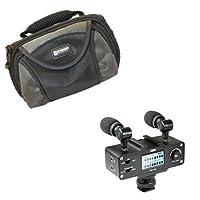 Samsung sc-m51ビデオカメラ外部マイクVidpro xm-ad5Miniプリアンプスマートミキサーwithデュアルワイヤレスマイクfor DSLRの、ビデオカメラ、電話、with sdc-26ケース
