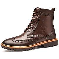 [WEWIN] マーチンブーツ 革靴 ブーツ メンズ 本革 ハイカット エンジニアブーツ ワークブーツ 大きいサイズ レースアップ ファッション 冬 裏起毛 防寒 厚底 滑り止め