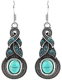 1 Pair Women Vintage Turquoise Crystal Bead Ear Hook Dangle Earrings Jewelry Fit for Parties for Girls Women As A Gift - Silver