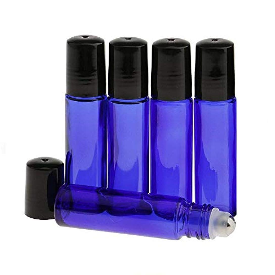 プリーツ夕方示すHongsheng ロールオンボトル 5本セット 10ml 遮光瓶 ガラスロールタイプ アロマオイル 香水 虫よけ 詰替え ブルー