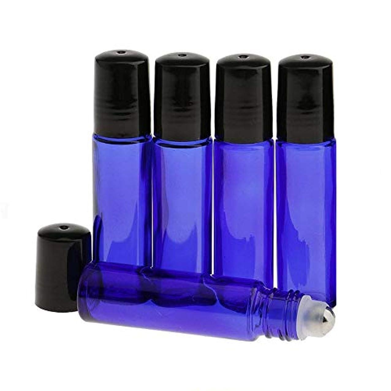 牛肉エスカレートスタンドHongsheng ロールオンボトル 5本セット 10ml 遮光瓶 ガラスロールタイプ アロマオイル 香水 虫よけ 詰替え ブルー