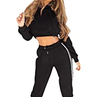UUYUK Women Casual Hooded Crop Top Sweatshirt Sweatpant Two Piece Outfits Tracksuit